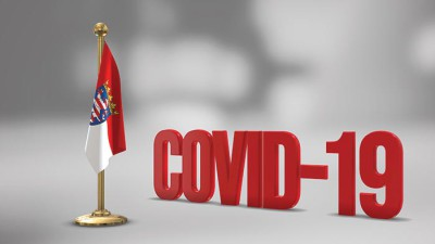 Hesse realistic 3D flag and Covid-19 illustration.